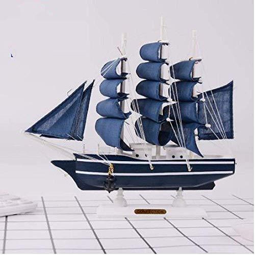 Zixin Wohnzimmer Dekorationen Segelboot Modell mediterran Stil Segelmodell Ornamente Massive Holzhandwerk Innenausstattung für Home Room Office Manual Gifts 30cm