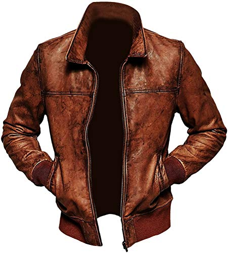 Cazadora de invierno para hombre, estilo vintage, color marrón