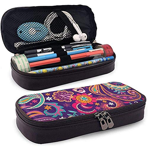 Paisley Hand Drawn PU Leather Pen Pen Bag 20 * 9 * 4 cm (8X3.5X1.5 Inches) Pouch Case Holder College Coin Purse Cosmetic Bag