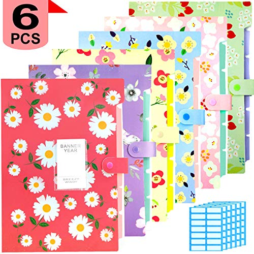 Expanding File Folder - 6 Pack Accordian File Organizer with 5 Pockets Document Accordion Folder and 168 Pcs File Folder Labels for School and Office