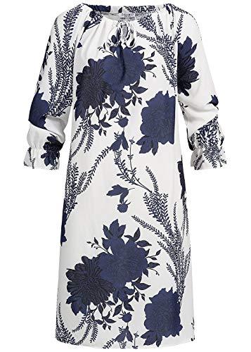 Zabaione Damen Oversized Kleid Off-Shoulder Dress Flower PrintNavy blau Weiss, Gr:S/M