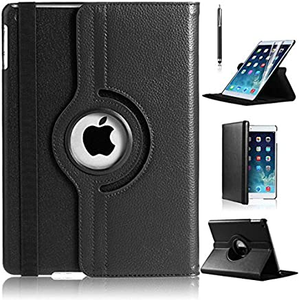 New iPad 9.7 2018/2017 Case, iPad Air Case, DN-TECHNOLOGY® High Quality Smart Auto Sleep/Wake 360 Degree Rotating Leather Case For Apple 9.7 inch 2017/2018 Model With Free Screen Protector, [Corner Protection] [Flip Case] [iPad Air Shockproof Case][iPad Air Stand Case][Case For iPad Air, Case for iPad 9.7 inch 2018/2017] (BLACK)