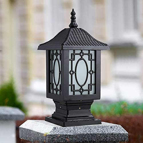 Continental Victoria Retro LED tafellamp waterdicht Villa omheining zuilverlichting aluminium glas zwart licht E27 tuinverlichting gazonverlichting (maat: L)