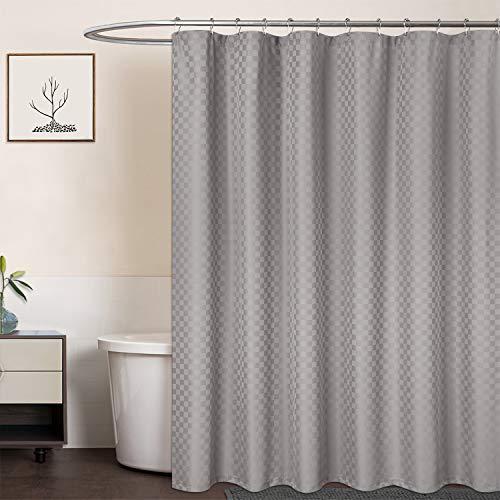 LinTimes Duschvorhang Grau, Hotel Luxury 190 GSM Thick Polyester Duschvorhang Shower Curtain, Grau, 180x180 cm (Verpackung MEHRWEG)
