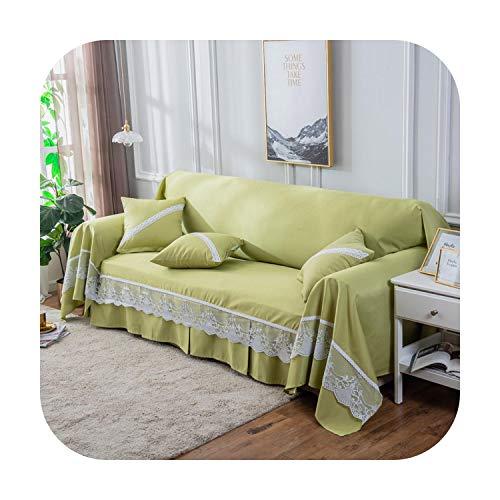 Funda de sofá Sólido para Sala de estar Moderno Todo Incluido Funda de 1/2/3/4 Plazas con Encaje Sofá Toalla Manta Sofá Cubierta de Sofá, Verde hierba, 190 x 200cm-1 seater