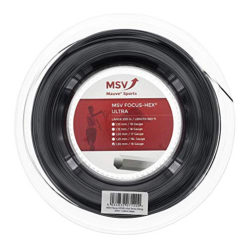 MSV Focus-Hex Ultra Saitenrolle 200m-Schwarz Cuerda de Tenis, Unisex Adulto, Negro, Talla única