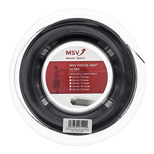 MSV Unisex– Erwachsene Focus-HEX Ultra Saitenrolle 200m-Schwarz Tennis-Saite, schwarz, One Size