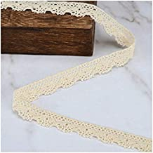 VU100 Cotton Scalloped Lace Trim Ribbon 10 Yards 1/2 Inches, Crochet Gift Wrapping Ribbon Lace Edge Trim, for Sewing Lace DIY Craft Beige Wedding Decor Ribbon