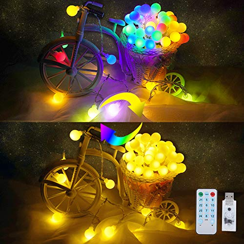 Color Changing Globe String Lights with Music Sync, 16.4ft 50 LED Hanging Lights USB Powered with Remote, Decorative Lights for Bedroom Party Wedding Bar Club Patio Yard Xmas Halloween