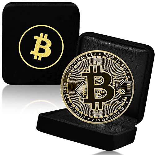 collectr Physische Bitcoin Sammler Münze - mit 24 Karat Echt-Gold überzogen - BTC Medaille Crypto Coin - Wahres Sammlerstück mit Münzkapsel und feiner Schatulle - Ideal zum Verschenken