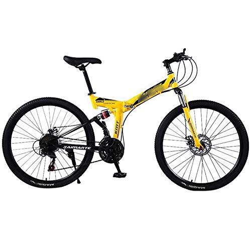 Mrzyzy Bicicleta de montaña Plegable de 24 Pulgadas, Modelo para Fortalecer la absorción de Impactos, Cambio de 21/24/27 etapas, Bicicleta Unisex para Adultos (Color : Yellow, Size : 21 Speed)
