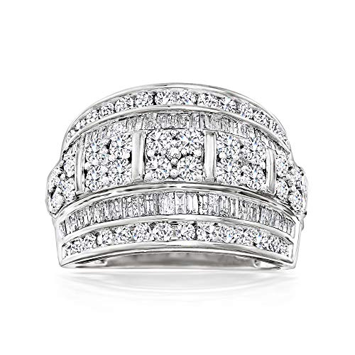 Ross-Simons 2.00 ct. t.w. Baguette and Round Diamond Multi-Row Ring in Sterling Silver. Size 8