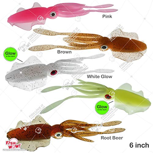 Fish WOW! 5pcs 6' Chase Squid Skirt Realistic Squid Octopus baits 3D Large Eyes Premium Quality Soft Plastic Fishing Luminous Lures 5 Colors