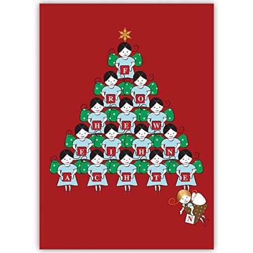 Schattige kerstkaarten met engel-kerstpiramide, rood, met hun tekst aan de binnenkant laten drukken, in een set van 4, 20, 100 stuks als kerstgroet/nieuwjaarskaart/firma-kerstkaart voor klanten, zakenpartners, medewerkers: Vrolijk Kerstmis 100 Weihnachtskarten Blanko Innen