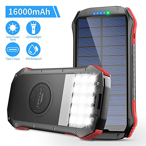 ORITO Solar Charger 16000mAh Portable Wireless Solar Power Bank with Dual USB Outputs & Type-C Input Waterproof Battery Pack 15 LED Flashlight for iPhone, iPad Samsung, and More Outdoor Camping