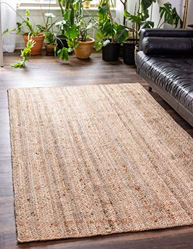 Unique Loom Braided Jute Collection Hand Woven Natural Fibers Natural Beige Area Rug 5 0 x 8 product image