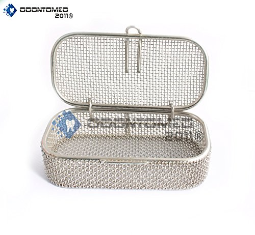 OdontoMed2011 Instrument Tray and Mesh Perforated Baskets Sterilization Tray 4.75' X 2.25' X 1' with Lid Stainless Steel, OD2011-DN-311