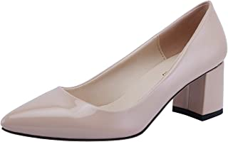 SHOESFEILD Women's Chunky Block Heels Closed Pointed Toe Slip On Mid Heels Classic Dress Pump Shoes