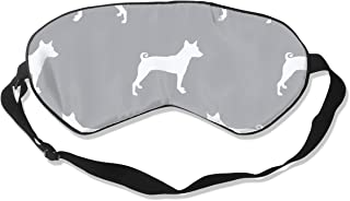 Basenji Silhouette Dog Grey Sleep Mask Pack Men and Women Or Children Eye Mask No Pressure Eye Masks for Sleep & Travel