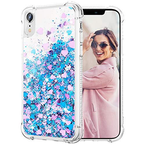 Caka - Funda con purpurina para iPhone XR, para mujeres y niñas, con líquido brillante, a la moda, lujoso, flotante, protector de TPU...