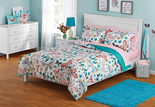 MS Zone 7PC Kids Bed in a Bag Microfiber Comforter Set Butterfly Full