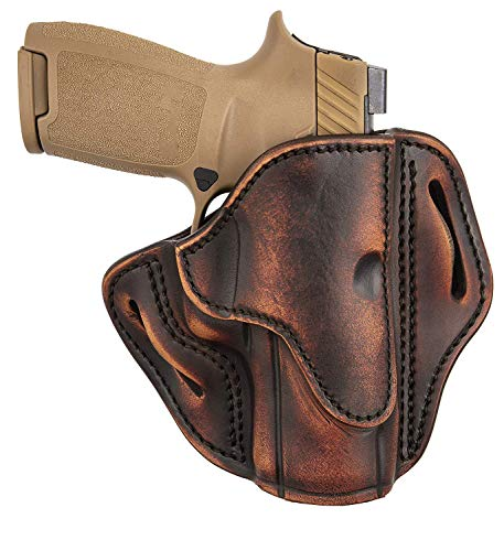 1791 GUNLEATHER SIG P320c Holster, Right Hand OWB Leather Gun Holster for Belts Also fits HK VP9sk, HK P2000, HK 45c, SIG P229c and Most compacts with Rails BH2.4S (Vintage)