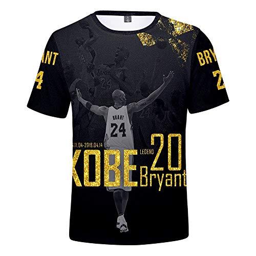 LVTIAN Kobe Bryant Männer Sommer-Saison Basketball T-Shirt 3D-Druck Rundhals Kurzarm T-Shirt-Kleid for die Jugend (Color : A, Size : XL)