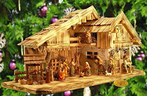 ÖLBAUM-Krippe KA70ng-MF-ALP-T2LF1 XXL Holz - Weihnachtskrippe mit großer Bodenplatte, mit Holz-Brunnen MIT HOLZDACH + Premium-DEKOSET Alpenland, Massivholz edel GEFLAMMT - mit 12 x
