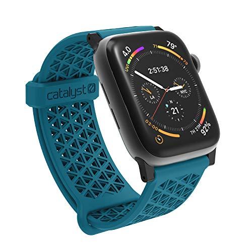 Catalyst Kompatibel mit Apple Watch Serie 5 und 4, 44 mm, Serie 1,2,3, 42 mm, hypoallergenes Uhrenarmband, atmungsaktives Armband, weiche Silikon-Ersatzbänder, Sportband für iWatch Blaugrün