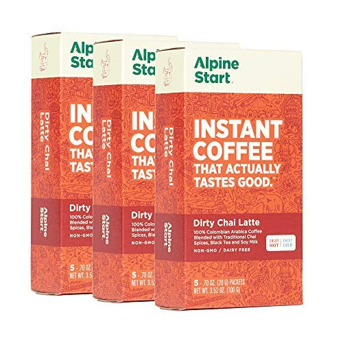 backpacking instant coffee packets Alpine Start Premium Instant Coffee Packets, Diary-Free Dirty Chai Latte, 15 Single Serve Packets (Pack of 3 Boxes)