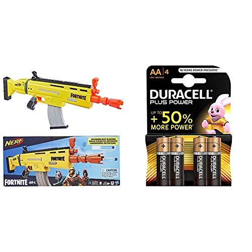 Nerf E6158EU4 Fortnite Ar-L - Lanzador + Duracell - Plus AA, Pilas alcalinas (Paquete de 4) 1.5 voltios, LR06 MX1500