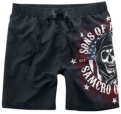 Sons of Anarchy Stars & Stripes Uomo Bermuda Nero S 100% Poliestere