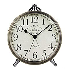 JUSTUP Golden Table Clock,Non-Ticking Retro Vintage Small Alarm Clock with Battery Operated Silent Quartz Movement HD Glass for Bedroom Living Room Indoor Decoration Kids (Arabic)