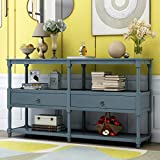 Merax Entryway Table Retro Style Console Table Sofa Table with 3-Tier Open Storage Shelf and 2 Drawers for Living Room Hallway (Dark Blue)