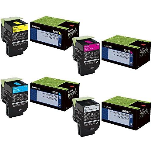Lexmark 70C1HK0 High Yield Black with 70C10C0, 70C10M0, 70C10Y0 Standard Yield Color Toner Cartridge Set for CS410, CS510