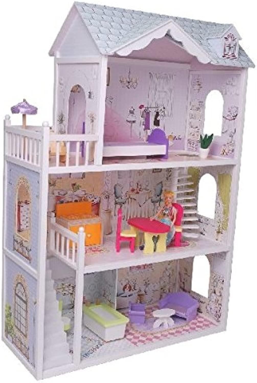 CASA DELLE BAMBOLE IN LEGNO 90 CM CON MOBILI ITN 4109 (wooden bambola house)