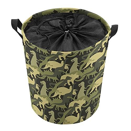 Cubo de almacenamiento impermeable grande organizador ligero cesta para la colada, cubos de juguete, cestas de regalo, ropa sucia, dormitorio de niños, baño dinosaurio, camuflaje verde