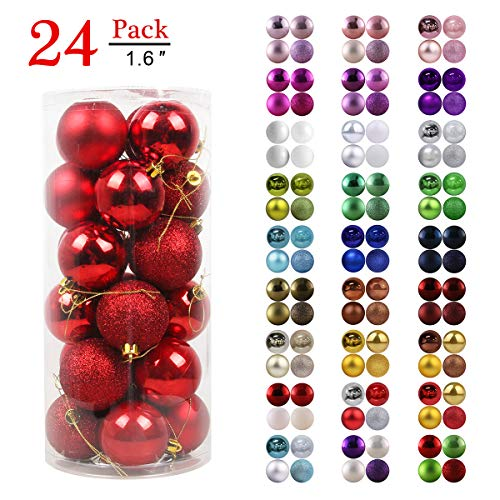 """GameXcel Christmas Balls Ornaments for Xmas Tree - Shatterproof Christmas Tree Decorations Perfect Hanging Ball Red 1.6"""" x 24 Pack"""