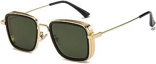 Men's and Women's Aviator Square Metal Frame Classic Sunglasses,Steam Punk Square Glasses,Kabir Singh Shades