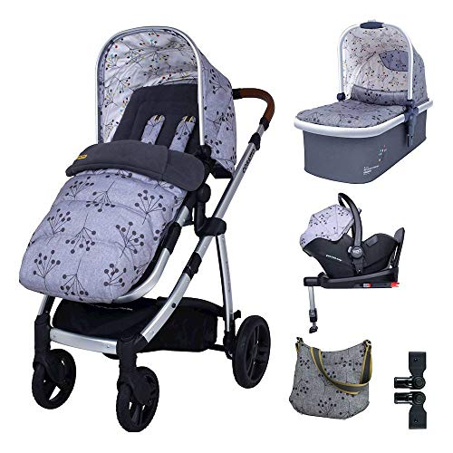 Cosatto Wow 3 in 1 i Size Travel System in Hedgerow with RAC Port Car seat Base Bag footmuff and Raincover