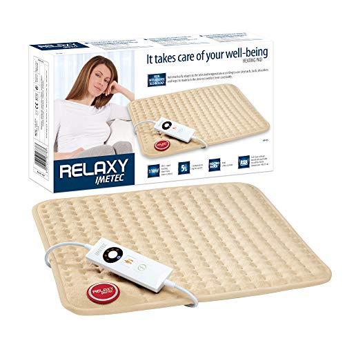 Imetec Relaxy HP-05 Almohadilla Eléctrica Térmica para Espalda, Hombros, Barriga y Piernas, Mando Digital, 5 temperaturas, Calientamento rápido,Tejido de Microfibra Lavable y Antialérgico, 40X35 cm