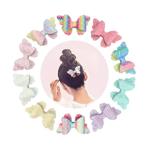 XIMA 10pcs Glitter Hair Bows Clips For Kids Girls Butterfly Hair Pin Accessoires Sparkly Bows Clips 3
