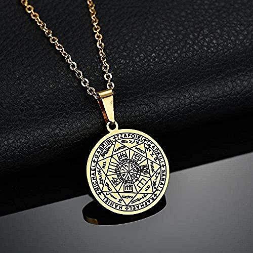 MGBDXG Co.,Ltd Collar Talismán Sello de Siete Arcángel Collares Pendientes Collar de pentáculo de Acero Inoxidable para Mujer