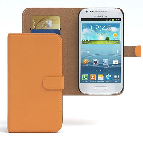 EAZY CASE Tasche für Samsung Galaxy S3 Mini Schutzhülle mit Standfunktion Klapphülle im Bookstyle, Handytasche Handyhülle Flip Cover mit Magnetverschluss & Kartenfach, Kunstleder, Orange