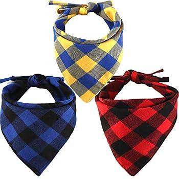 Egurs Paquet de 3 Bandanas pour Chien Echarpe pour Animaux Plaid Triangle Bavettes Écharpe Accessoires pour Chiens Chats Animaux Animaux Animaux Rouge Bleu Jaune Rouge Bleu Jaune