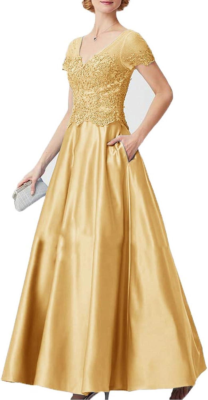 JINGDRESS V Neck Lace Satin Mother of The Bride Dresses Appliques Empire Waist Evening Prom Dresses with Pocket