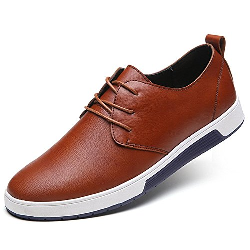 ZZHAP Men's Casual Oxford Shoes Breathable Flat Fashion Sneakers 02Brown US 10.5