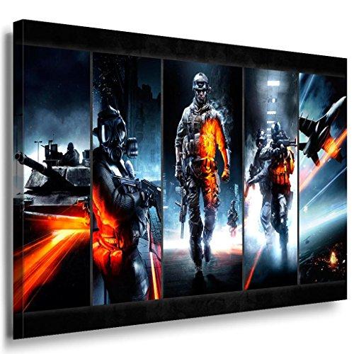 Battlefield Armee Game Leinwandbild / LaraArt Bilder / Leinwand Bild + Mehrfarbig + Kunstdruck XXL g29-5 Wandbild 100 x 70 cm