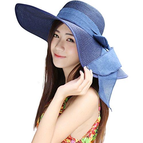 Lanzom Womens 5.5 Inches Big Bowknot Straw Hat Large Floppy Foldable Roll up Beach Cap Sun Hat UPF 50+(Dark Blue)