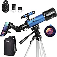 Telmu 400mm AZ Mount Astronomical Refracting Telescope with Backpack, Phone Adapter